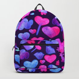 Watercolor romantic design on violet Backpack