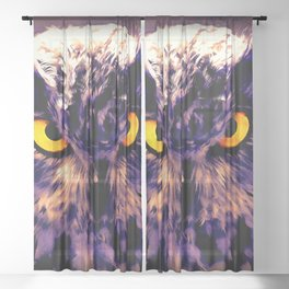 owl look digital painting reacls Sheer Curtain