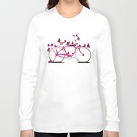 brompton Long Sleeve T-shirts featuring Butterfly Bicycle by Wyatt Design