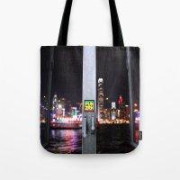 hong kong Tote Bags featuring Hong Kong  by Chernyshova Daryna