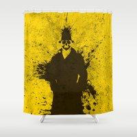 watchmen Shower Curtains featuring WATCHMEN - RORSCHACH (YELLOW EDITION) by Zorio