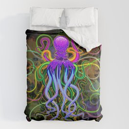 Octopus Psychedelic Luminescence Comforters
