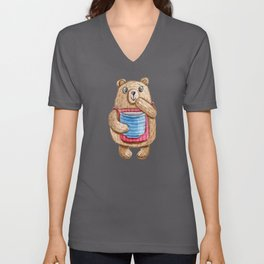 Cute bear with apron and honey pot lovely drawing Unisex V-Neck