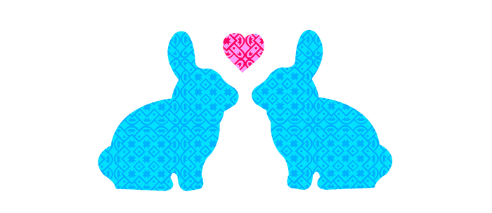 Pair of Blue Damask Patterned Bunny with Cute Pink Heart Coffee Mug