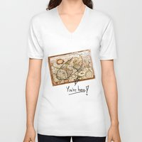 vintage map V-neck T-shirts featuring Vintage Map by Diego Tirigall