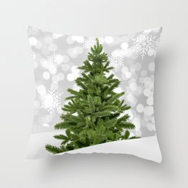 Christmas Photography - Spruce Tree In Snowing Weather Throw Pillow