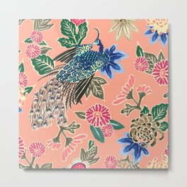 Peacock Floral in Coral Metal Print