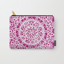 Pink and White Patterned Mandala Textile Carry-All Pouch