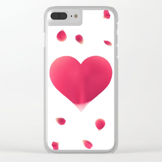 Rose Petal Heart Clear iPhone Case