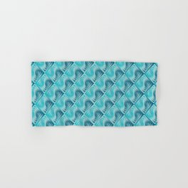 Knitting pattern tiles with 3D effect and blue gradient Hand & Bath Towel