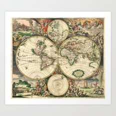 Old map of world hemispheres (enhanced) Art Print