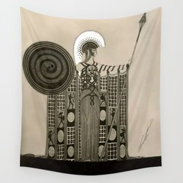 "Art Deco Sepia Illustration ""Athena"" Wall Tapestry"