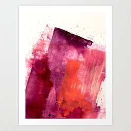 Blushing: a vibrant, minimal abstract in purple, pink, and red Art Print