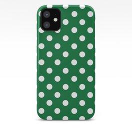 Polka Dots (White & Dark Green Pattern) iPhone Case