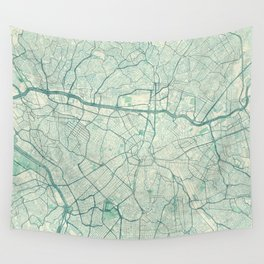 Sao Paulo Map Blue Vintage Wall Tapestry