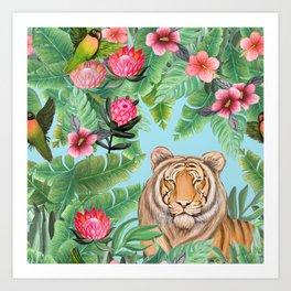 Jungle Tiger Tropical lovebirds Art by Magenta Rose Designs Art Print