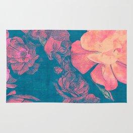 Rose Garden Blue 2- Texture Rose Study in red peach scarlet indigo Rug