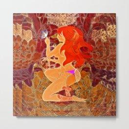 Frau mit roten Haaren und Schmetterling Metal Print