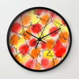 Spread Love heart pattern illustration wedding gift couples marriage red orange yellow Wall Clock