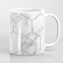 Rose gold marble hexagons honeycomb pattern Coffee Mug