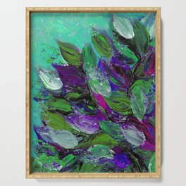 BLOOMING BEAUTIFUL 1 - Floral Painting Mint Green Seafoam Purple White Leaves Petals Summer Flowers Serving Tray