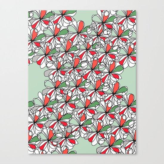 Xmas Floral Doodle Canvas Print