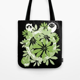 Black, white and green cats Tote Bag