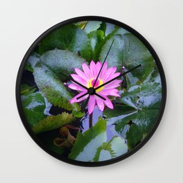 Sun-kissed Lotus blooms and awakens up on a mountain in Vietnam Wall Clock
