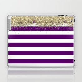 Purple and White Stripes Faux Gold Glitter Laptop & iPad Skin