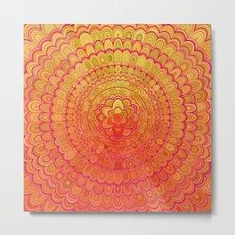 Aztec Flower Mandala Metal Print