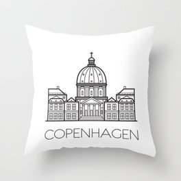 Marble Church Copenhagen Denmark Black and White Throw Pillow