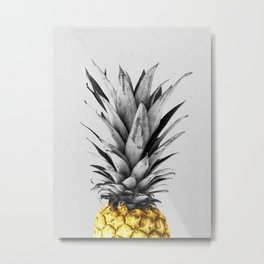 Gray and golden pineapple Metal Print