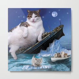 Cat Sinking Kitty Fat Cats Rescue Movie Famous Scene Metal Print