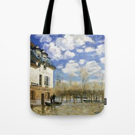 12,000pixel-500dpi - Alfred Sisley - Boat in the Flood at Port Marly - Digital Remastered Edition Tote Bag