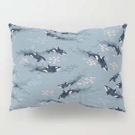 Orca in Motion / blue-gray ocean pattern Pillow Sham