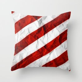 Crumbled Red Stripes Throw Pillow