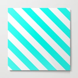 Diagonal Stripes Pattern: Turquoise Metal Print