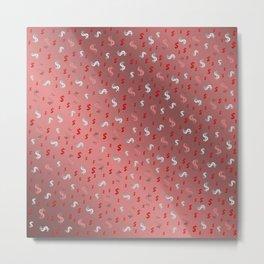 pink,silver,dollar, symbol in shiny metall textur Metal Print