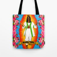 aaliyah Tote Bags featuring Lady Aaliyah by Samantha Marie