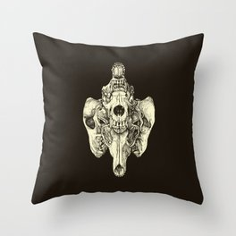 Coyote Skulls - Black and White Throw Pillow