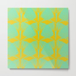 ginkgo pattern in deep yellow and turquoise Metal Print