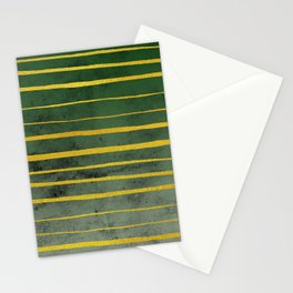 Gold Stripes on Green Stationery Cards