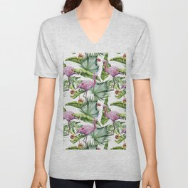 Flamingo Jungle #society6 #buyart Unisex V-Neck