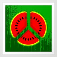 watermelon Art Prints featuring Watermelon by mailboxdisco