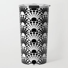 black and white art deco inspired fan pattern Travel Mug
