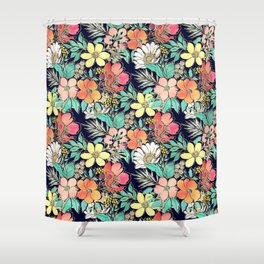 Cute girly pink floral golden strokes design Shower Curtain