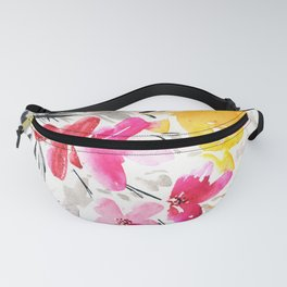 pink, yellow and black flowers Fanny Pack