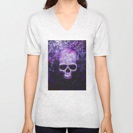 craneo morado - purple skull Unisex V-Neck