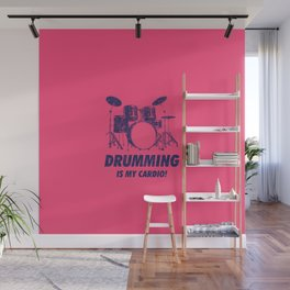 Drumming Is My Cardio Funny Drums Vintage Drummer Distressed Wall Mural