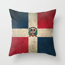 Old and Worn Distressed Vintage Flag of Dominican Republic Throw Pillow